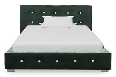 Sängram grön sammet 90x200 cm