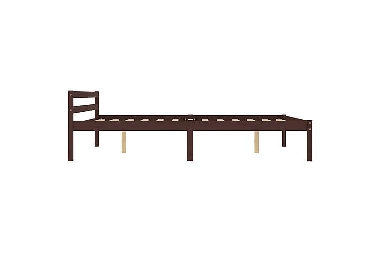 Sängram mörkbrun massiv furu 120x200 cm - Brun - Möbler - Sängar - Sängram & sängstomme