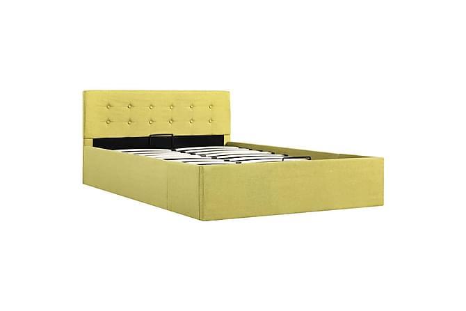 Sängram med hydraulisk förvaring grön tyg 120x200 cm - Grön - Möbler - Sängar - Sängram & sängstomme