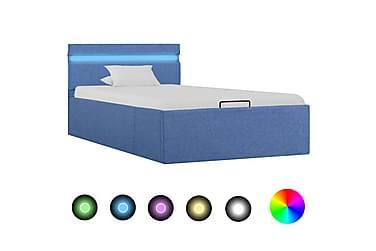 Sängram med hydraulisk förvaring och LED blå tyg 90x200 cm
