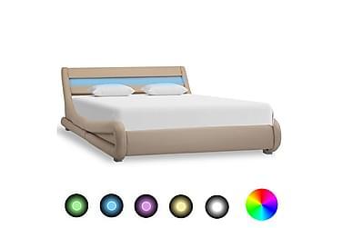 Sängram med LED cappuccino konstläder 140x200 cm