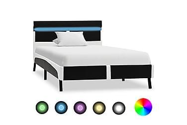 Sängram med LED svart konstläder 90x200 cm
