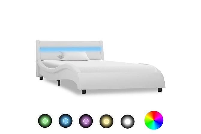 Sängram med LED vit konstläder 100x200 cm - Vit - Möbler - Sängar - Sängram & sängstomme