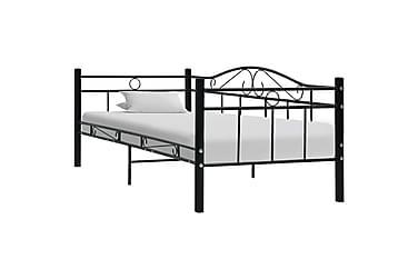 Sängram svart metall 90x200 cm