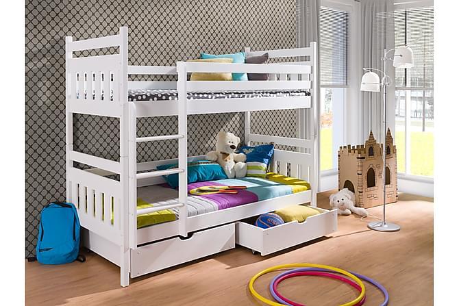 Stellan Våningssäng 90x200 med Förvaring 2 Pers - Vit - Möbler - Sängar - Våningssängar