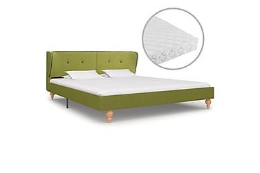 Säng med madrass grön tyg 160x200 cm