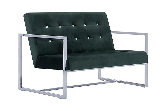 2-sitssoffa med armstöd mörkgrön krom och sammet - Grön - Möbler - Soffor - 2-4-sits-soffor