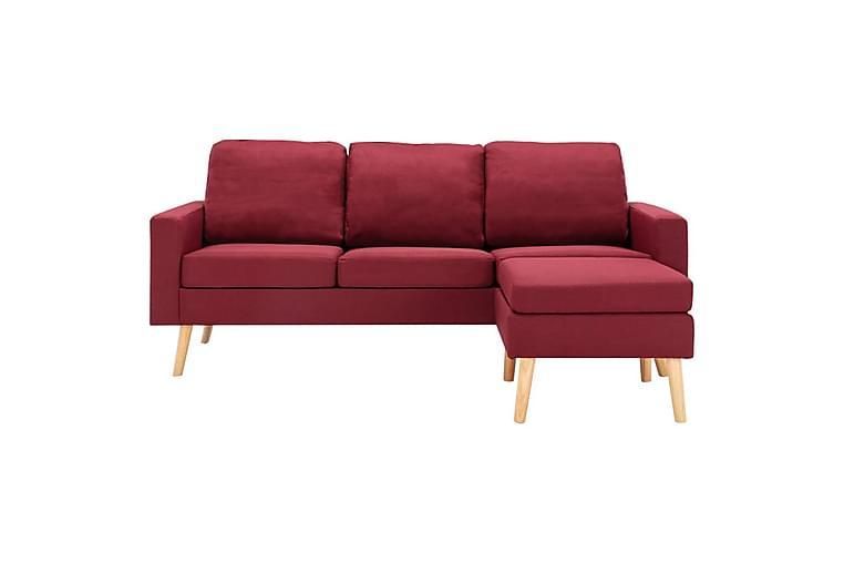 3-sitssoffa med fotstöd vinröd tyg - Röd - Möbler - Soffor - 2-4-sits soffor