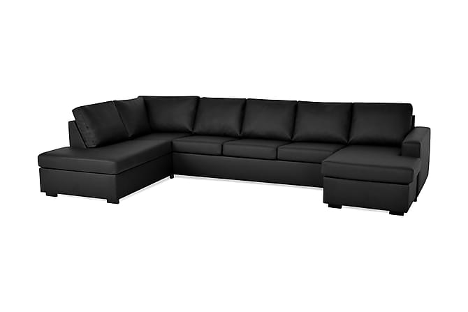 Crazy U-soffa XL Divan Höger - Svart Konstläder - Möbler - Soffor - Divansoffor & U-soffor
