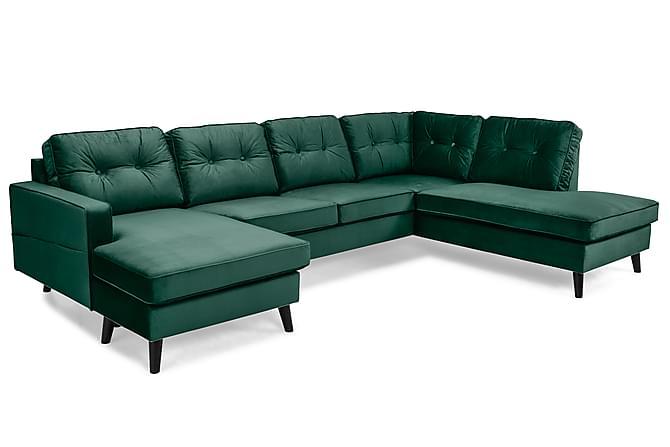 Monroe U-soffa med Divan Vänster Sammet - Grön - Möbler - Soffor - Divansoffor & U-soffor