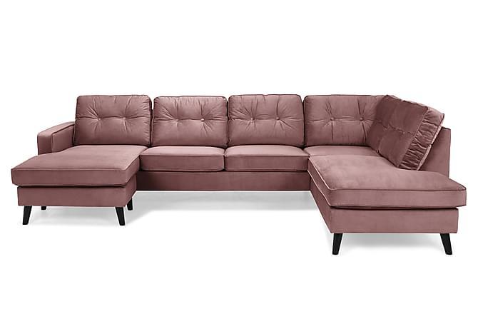 Monroe U-soffa med Divan Vänster Sammet - Rosa - Möbler - Soffor - Divansoffor & U-soffor