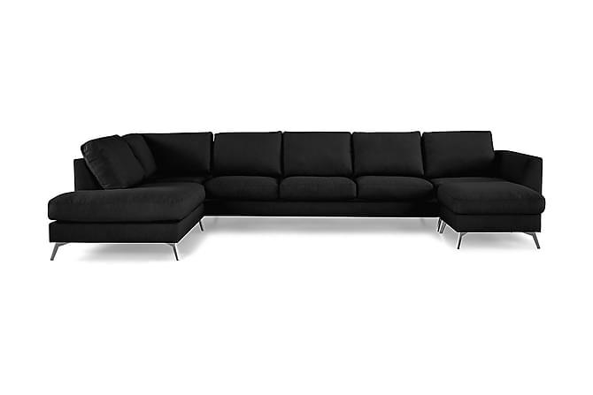 Ocean Lyx U-soffa med Schäslong Vänster - Linnesvart - Möbler - Soffor - Divansoffor & U-soffor