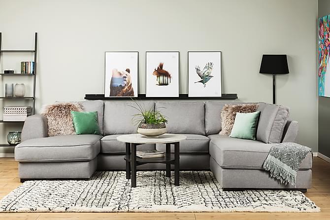 Optus U-soffa med Divan Vänster - Ljusgrå - Möbler - Soffor - Divansoffor & U-soffor