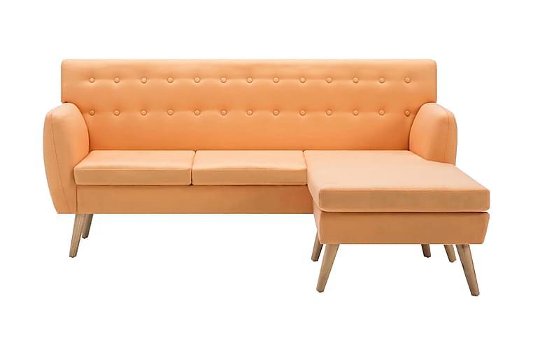 Soffa L-formad tyg 171,5x138x81,5 cm orange - Orange - Möbler - Soffor - Divansoffor & U-soffor