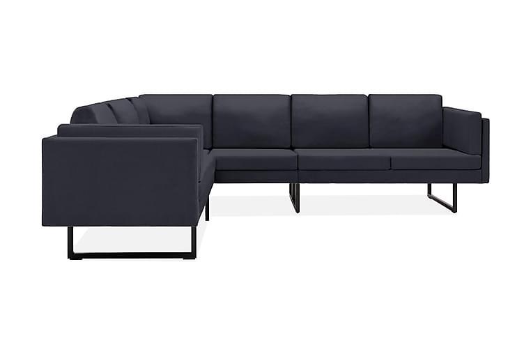 Hörnsoffa mörkgrå tyg - Grå - Möbler - Soffor - Hörnsoffor