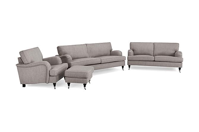 Howard Classic Soffgrupp 3,5-sits+3-sits+Fåtölj+Fotpall - Grå/Brun - Möbler - Soffor - Howardsoffor