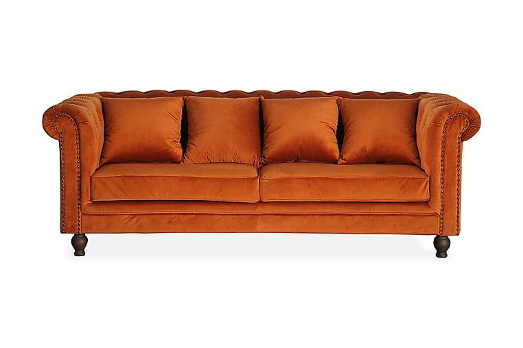 Robyn Sammetssoffa 3-sits - Orange - Möbler - Soffor - Howardsoffor