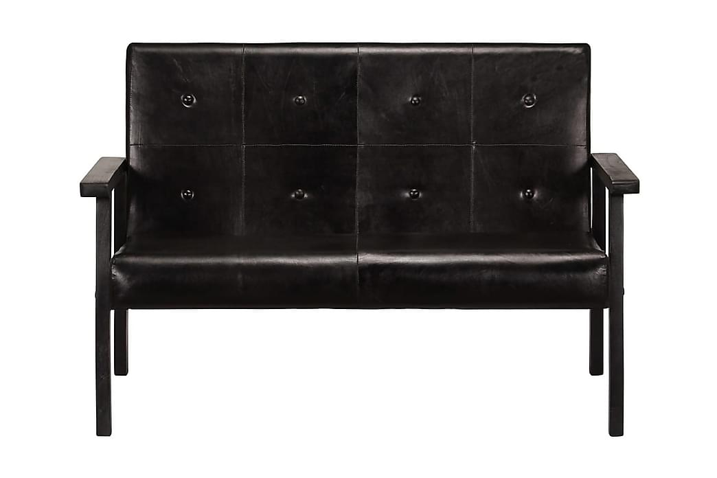 2-sitssoffa äkta läder svart - Svart - Möbler - Soffor - Skinnsoffor