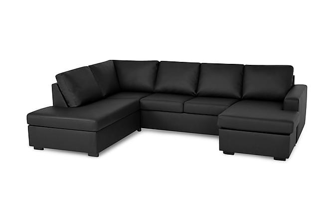 Crazy U-soffa Large Divan Höger - Svart Konstläder - Möbler - Soffor - Divansoffor & U-soffor