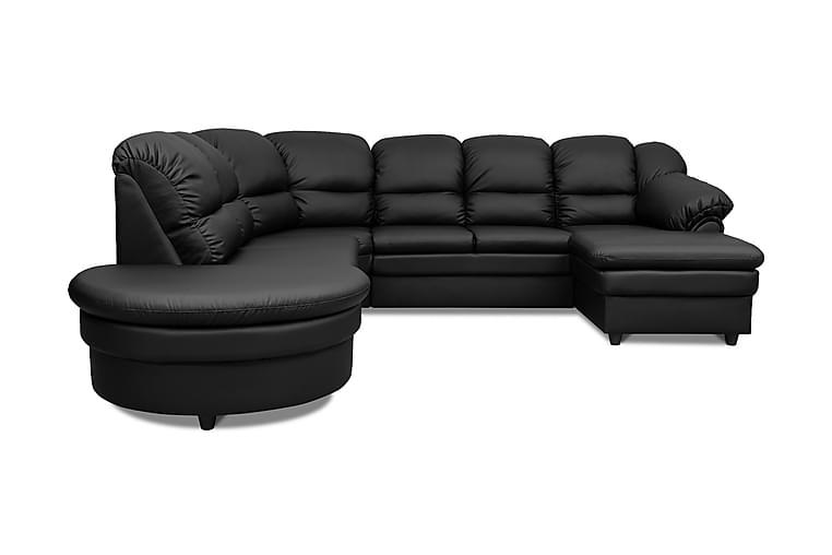 Gloria U-soffa med Rund Divan Vänster - Svart - Möbler - Soffor - Skinnsoffor