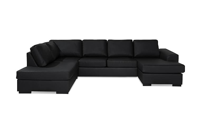 Ocean U-soffa Large med Divan Höger Konstläder - Svart - Möbler - Soffor - Skinnsoffor
