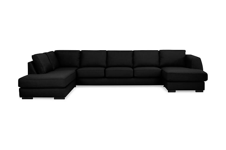 Optus U-soffa Large med Divan Höger - Svart - Möbler - Soffor - Skinnsoffor