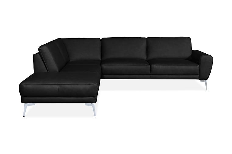 Pelada Hörnsoffa Vänster Läder - Svart/Krom/Mattsvart - Möbler - Soffor - Skinnsoffor