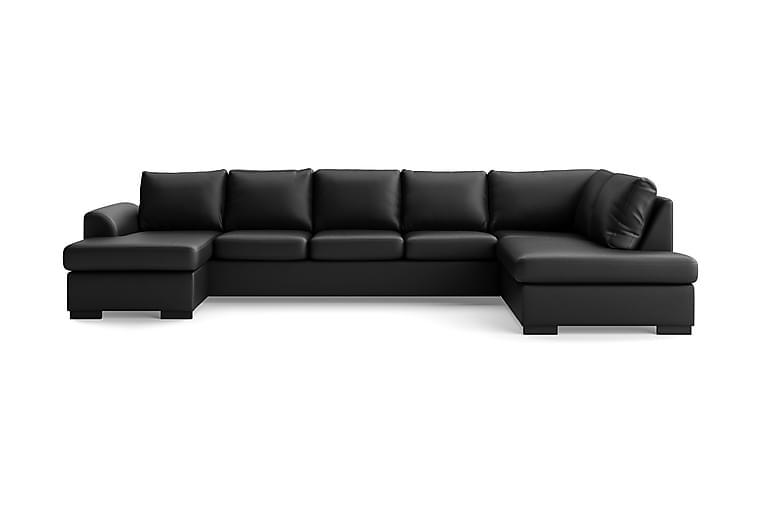 Porto U-soffa Large Höger Konstläder - Svart - Möbler - Soffor - Skinnsoffor