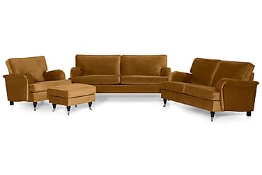 Howard Classic Soffgrupp 2-sits+3,5-sits+Fåtölj+Pall Sammet
