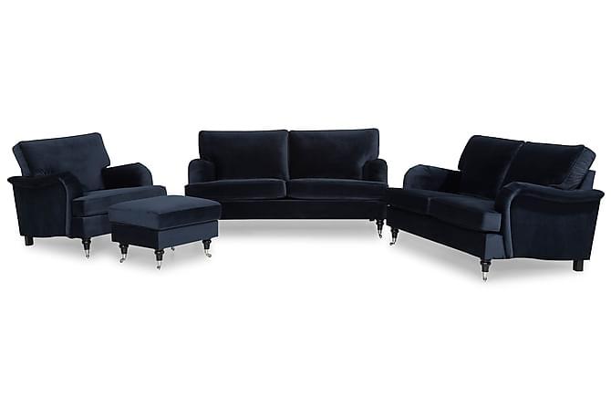 Howard Classic Soffgrupp 3-sits+2-sits+Fåtölj+Fotpall Sammet - Midnattsblå - Möbler - Soffor - Soffgrupp