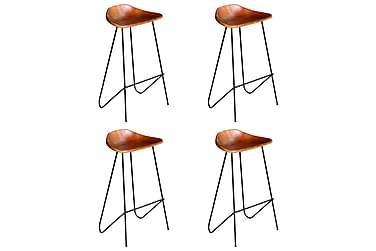 Barstolar 4 st brun äkta läder