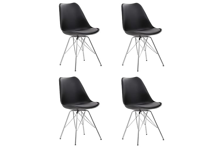 Matstolar 4 st svart konstläder - Svart - Möbler - Stolar - Karmstolar