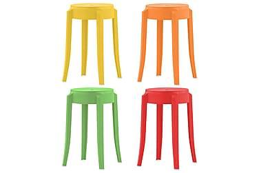 Stapelbara pallar 4 st plast flerfärgad
