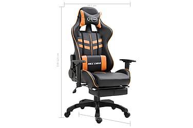 Gamingstol med fotstöd orange PU