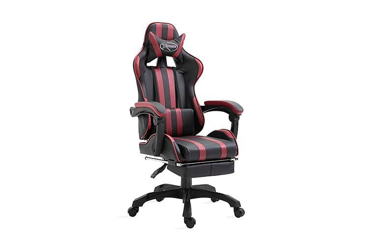 Gamingstol med fotstöd vinröd konstläder - Röd - Möbler - Stolar - Kontorsstol & skrivbordsstolar