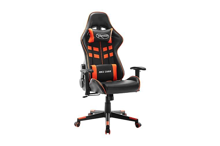 Gamingstol svart och orange konstläder - Flerfärgad - Möbler - Stolar - Kontorsstol & skrivbordsstolar
