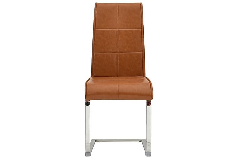 Fribärande matstolar 4 st blank brun konstläder - Brun - Möbler - Stolar - Matstolar & köksstolar