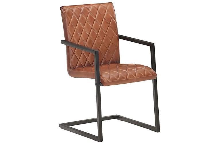 Fribärande matstolar 6 st brun äkta läder - Brun - Möbler - Stolar - Matstolar & köksstolar