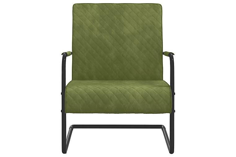 Fribärande stol ljusgrön sammet - Grön - Möbler - Stolar - Matstolar & köksstolar