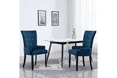 Matstol med armstöd mörkblå sammet