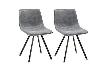 Matstolar 2 st grå konstläder