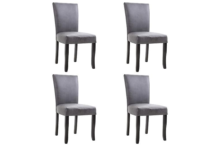 Matstolar 4 st grå konstmocka - Grå - Möbler - Stolar - Matstolar & köksstolar
