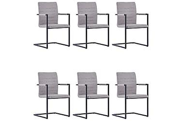 Matstolar 6 st frihängande grå konstläder