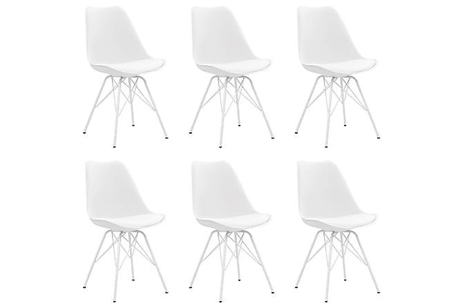 Matstolar 6 st vit konstläder - Vit - Möbler - Stolar - Matstolar & köksstolar