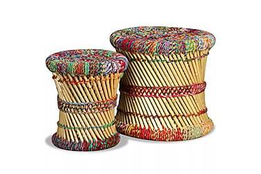 Pallar 2 st bambu med chindidetaljer flerfärgad
