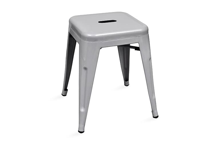Stapelbara pallar 2 st grå metall - Grå - Möbler - Stolar - Pall