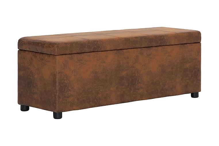 Bänk med förvaringsutrymme 116 cm brun konstmocka - Brun - Heminredning - Småmöbler - Sittbänk
