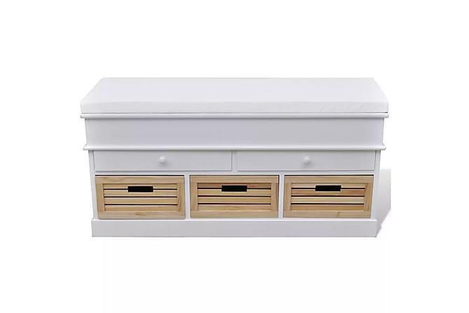 Förvaringsbänk med dyna 2 lådor 3 korgar vit - Vit - Möbler - Stolar - Sittbänkar