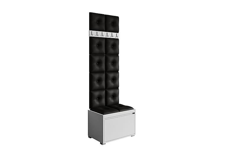 Grawis Sittbänk med 12-pack Väggdekoration 30x30 cm - Vit/Svart - Heminredning - Småmöbler - Sittbänk