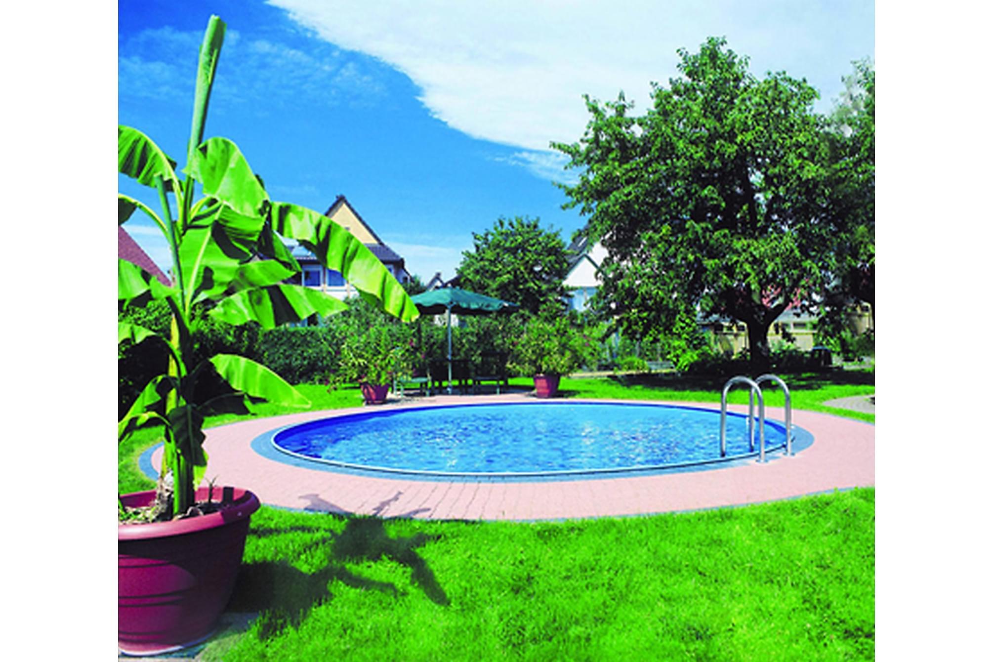 Exklusiv rund pool ovanmark 350x150 cm for Poolumrandung aufstellbecken